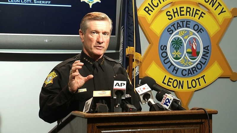 In this image taken from video, Richland County Sheriff Leon Lott speaks during a press conference in Columbia Tuesday. Lott on Wednesday announced the fate of the deputy who was taped tossing a student out of a chair. (AP Photo/Alex Sanz)
