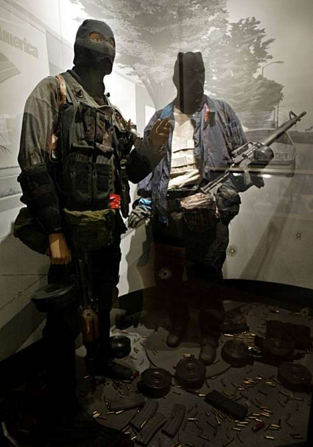 A static display showing the gear worn and carried by the two dirtbags in the North Hollywood Robbery and subsequent shootout.