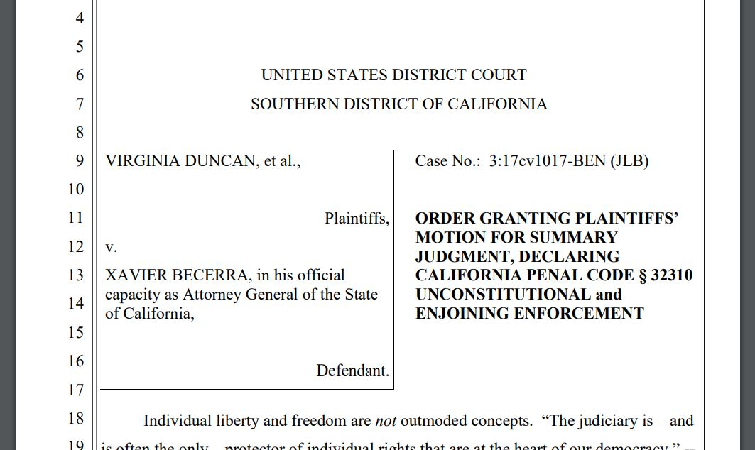 "** BREAKING ** Federal Court Judge Rules CA's ""High Capacity"" Magazine Ban Unconstitutional"